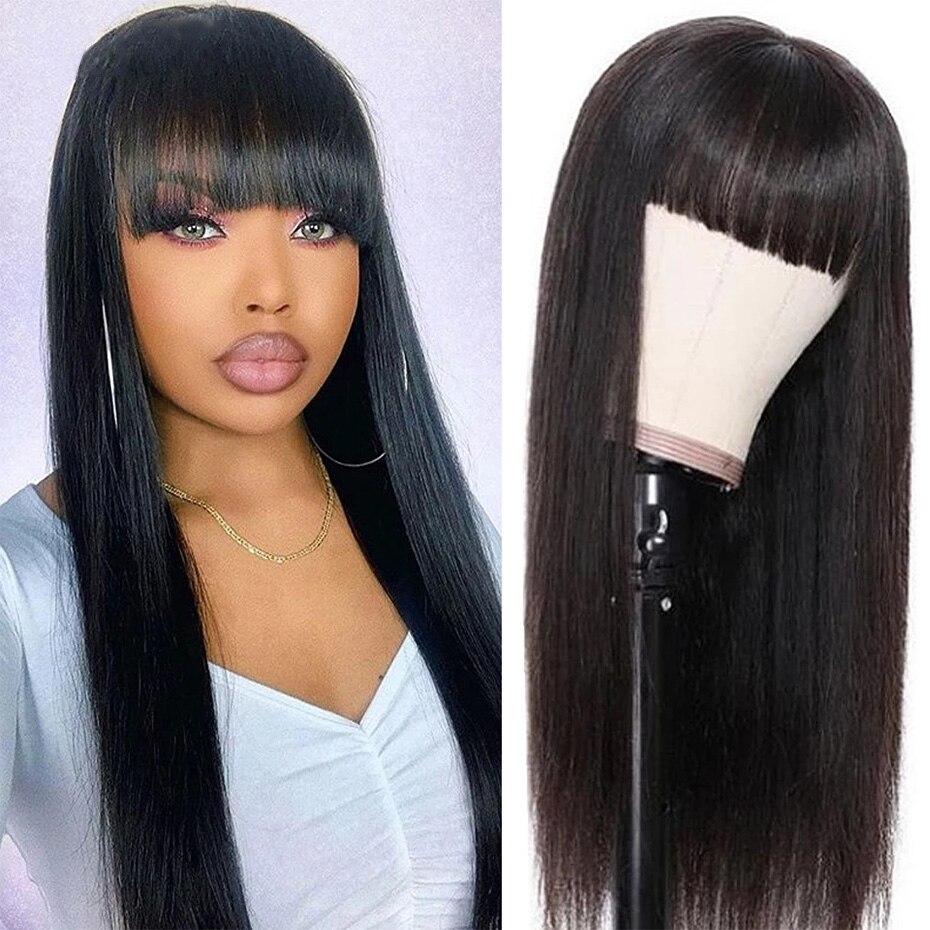 Perucas retas brasileiras do cabelo humano com franja para as mulheres 8-26 polegadas máquina completa feita peruca 150% remy peruca de cabelo humano cor natural
