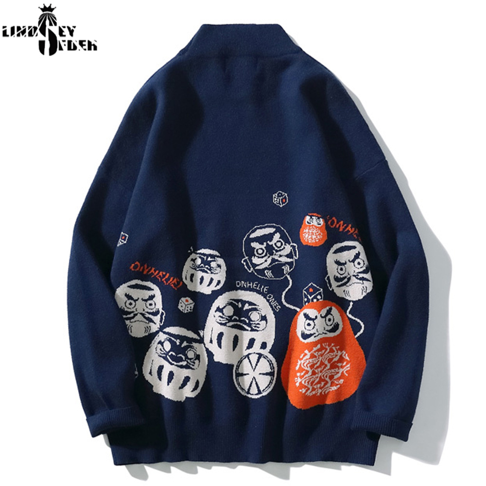 Lindsey Seader Sweater Men Pullover Knitwear Print Faces Sweaters Prints Hiphop Warm Winter Inside Outwear Sweater Streetwear