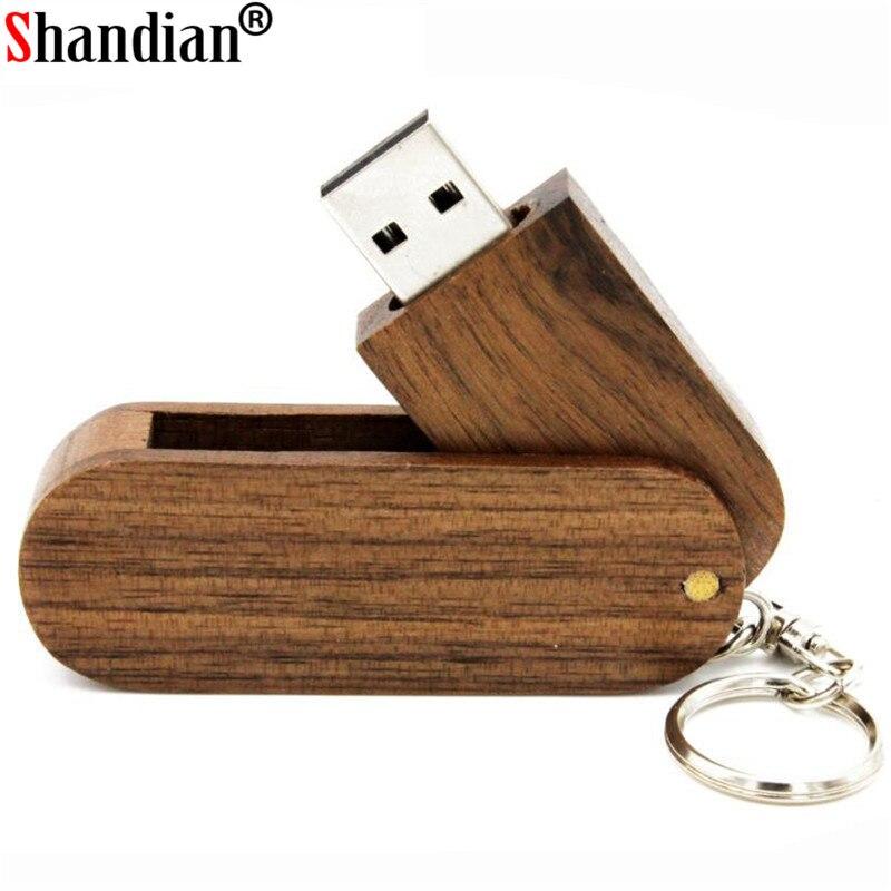 SHANDIAN Keychain Rotate The Wood Usb Flash Drive Gift Pen Drive Usb Stick 4GB 8GB 16GB 32GB 64GB Memory Stick Pendrive Cutomer