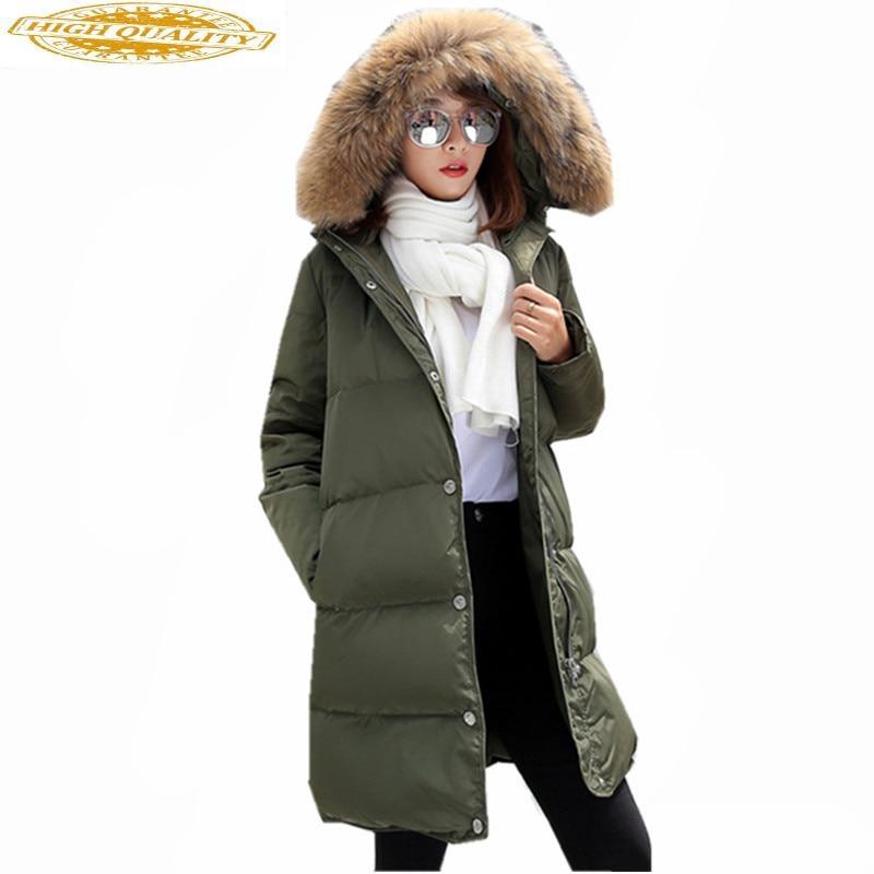 Women's White Duck Down Jacket Warm Women Parka Raccoon Fur Collar Winter Coat Padded Female Jackets Abrigo Mujer WXF401