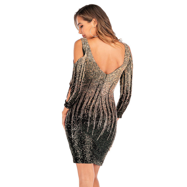 Women Party Dress Glitter Shiny Wrap Dress Mini Sexy O Neck Clubwear Tunic Ladies Backless Sequin Dress 3