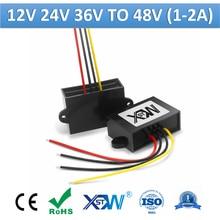 Xwst dc step up 12v 24v 36v para 48 v boost power converter 1a 1.5a 2a 48 volts abs plástico regulador de tensão estabilizador