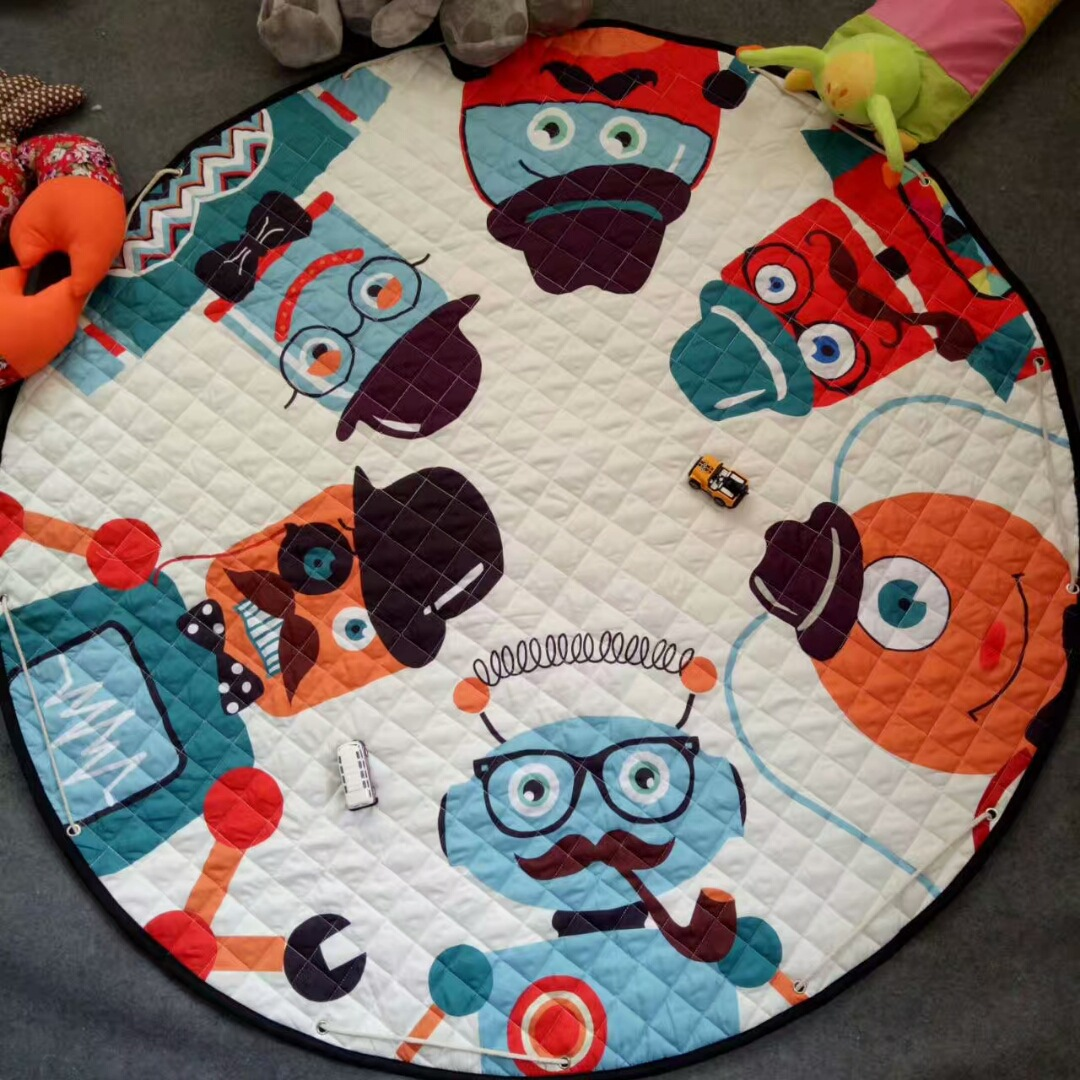 Hebc3ab8230c9492793e155fb08a52b8eh Kid Soft Carpet Rugs Cartoon Animals Fox Baby Play Mats Child Crawling Blanket Carpet Toys Storage Bag Kids Room Decoration