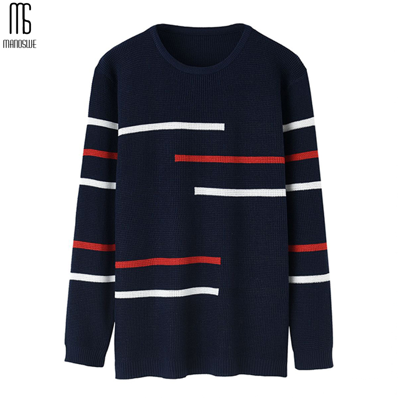 Manoswe Autumn Winter Men Pullover O-neck Sweater & Jumper Fashion Striped Casual Slim Fit Knitted Men Clothes M-3XL Oversize