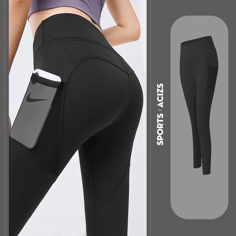 Nahtlose Yoga Leggings Frauen Fitness Hohe Taille Energie Yoga Hosen mit Telefon Tasche Sportwear Gym Training Sport Laufhose