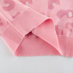 Image 3 - Wiosenny i jesienny nowy nabytek Baby Girl Clothes dziecięcy sweter dziecięcy swetry dziewczęcy różowy z długim rękawem O neck dziecięcy sweter z dzianiny