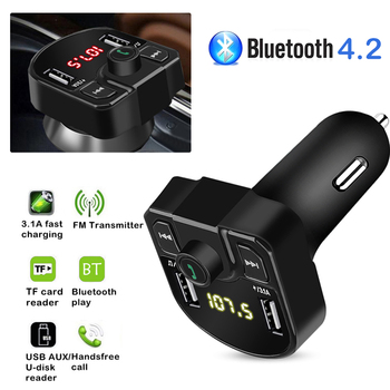 Car FM Transmitter Wireless Modulator Bluetooth Handsfree U Disk TF MP3 Music Player 3.1A+1A Dual USB Charger image