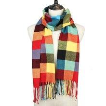 Клетчатый шарф, женские зимние шали, тёплый платок для детей, кашемировый шарф для шеи, унисекс, Ретро стиль, клетчатый шарф, мужские шарфы bufanda