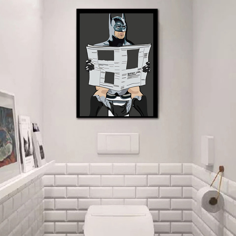 Star Wars Batman Humor Superhero On The Toilet Wall Art Print Cartoon Canvas Poster Painting For Bathroom Decoration Picture Buy At The Price Of 1 79 In Aliexpress Com Imall Com
