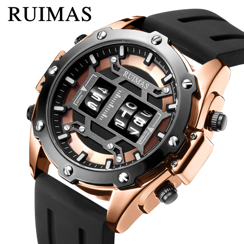 Fashion Sport Watch For Men Gold Stainless Steel Military Quality Silicone Strap Waterproof Quartz Wristwatch Reloj Hombre Gift
