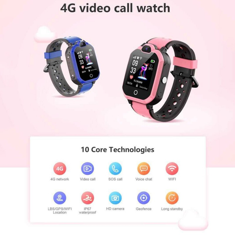 GPS Tracker For Kids 4G Smart Watch Waterproof Bluetooth Video Call Camera GPS LBS WIFI Location Watch For Children Gift LT05