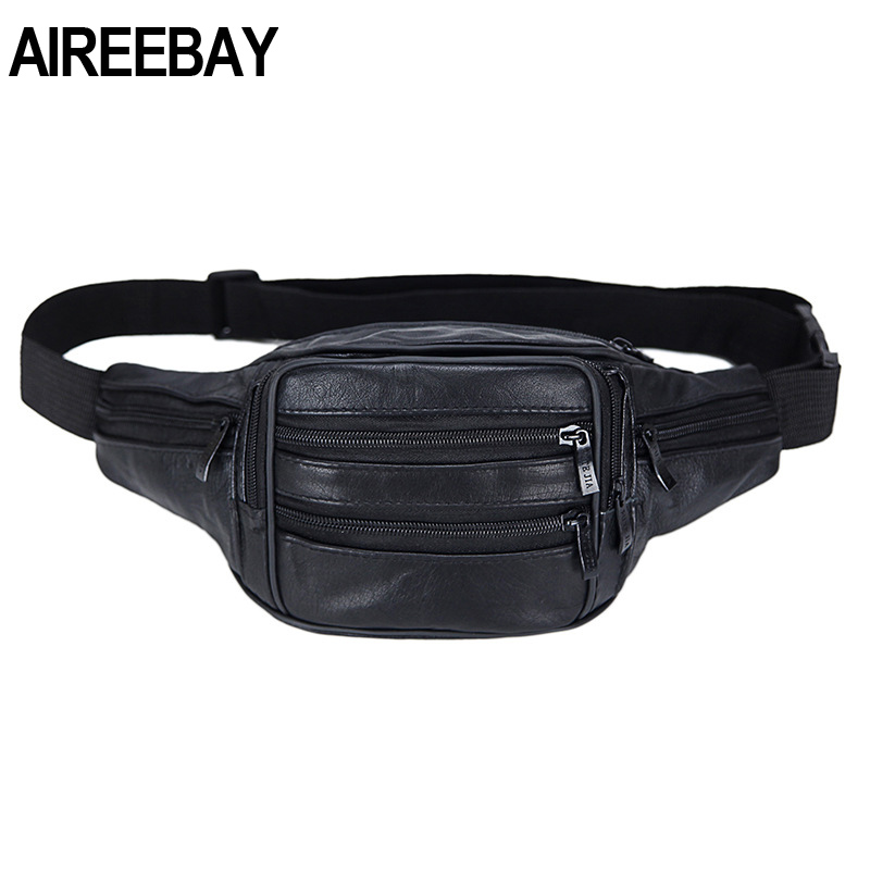 AIREEBAY  Vintage Style Leather Men Fanny Pack Black Travel Waist Bag For Men Casual Small Waist Bag For Phone Pouch Chest Bag
