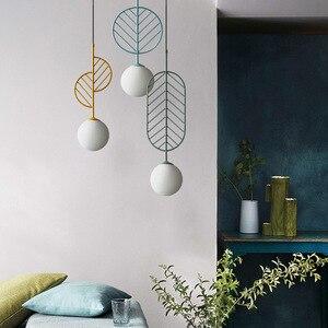Современный подвесной светильник с листьями, стеклянный шар, подвесной светильник для спальни, гостиной, лофта, дома, Декор для дома, светод...