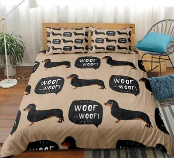 Cartoon Pet Bedding Set Dachshund Sausage Dog Duvet cover set Cute Kids Teen quilt cover Taupe bed cover Dog home Textile