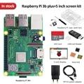 Оригинальный Raspberry pi 3b plus, набор экрана + 5-дюймовый экран + TF-карта 32 ГБ + мульти-кардридер + теплоотвод + блок питания ЕС/США + чехол
