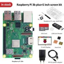 In stock Raspberry pi 3b plus screen kit +5 inch screen + 32G TF card + multi-card reader + heatsink +EU/US power supply+case
