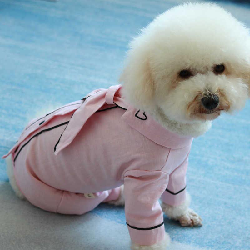 Kombinezon dla psa cienki ładny strój dla szczeniaczka 100% bawełna chroń brzuch kombinezony dla małych psów piżama bluza Chihuahua pudel