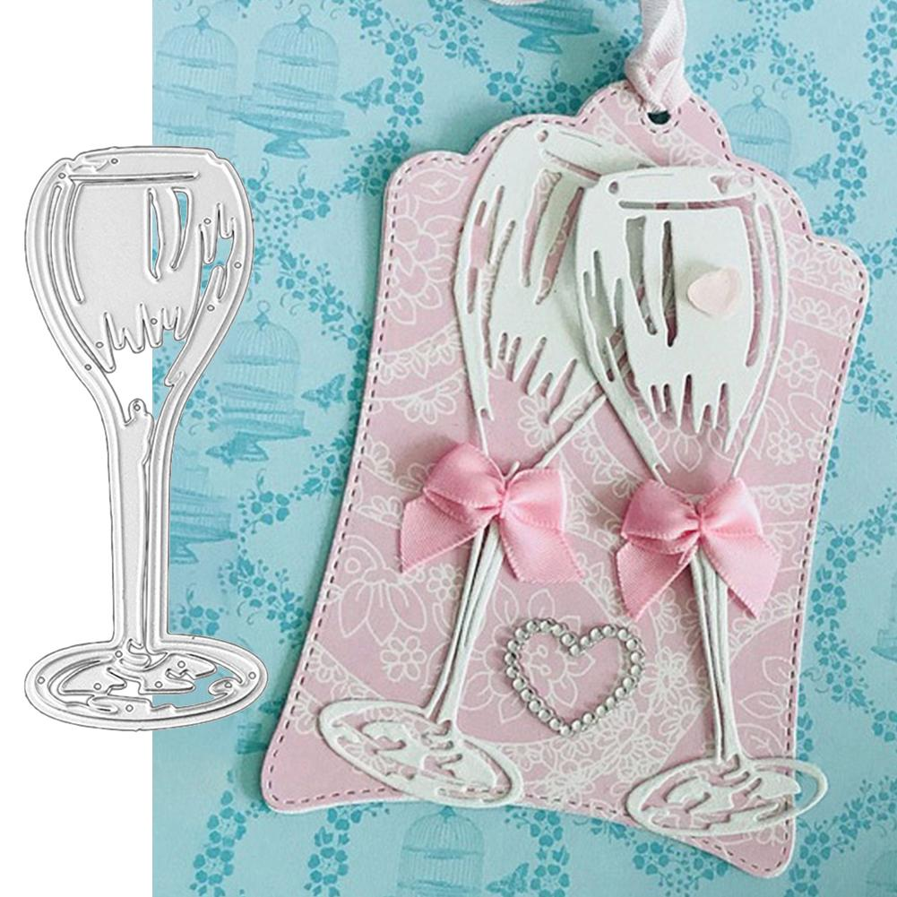 1 Set Of Durable Wine Glass Design Metal Cutting Dies DIY Scrapbooking Embossing Paper Cards Stencil