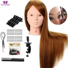 24 ''60% vraie tête de Mannequin de cheveux humains pour la pratique de maquillage avec des peignes de support mis Mannequins de tête d'entraînement de cheveux blonds avec des perruques