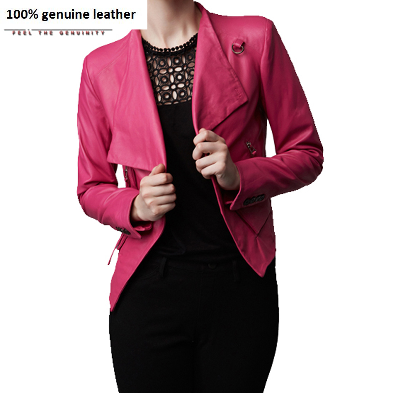 Brand Fashion Women Leather Jacket 100% Real Sheepskin Black Pink Soft Thin Female Genuine Leather Jacket Autumn 172