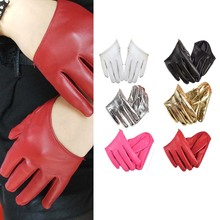 1PC Fashion Leather Sexy Dancer Modelling Fashion Half Finger PU Leather Gloves Ladys Fingerless Driving Show Pole Dance
