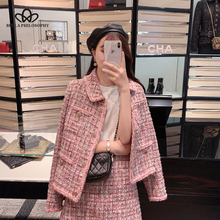 Bella Philosophy 2019 Autumn Winter Women Turn-down Collar Woolen Coats OL Single Breasted Jackets Female Elegant Two Piece Set cheap Polyester REGULAR Full Loose Wool Blends Button Office Lady Solid