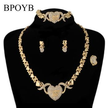 BPOYB najlepiej sprzedać miś przytulić serce Xo naszyjnik damskie kolczyki bransoletka pierścionek złoty kolor dubaj brazylijski logo biżuteria ślubna tanie i dobre opinie Ze stopu cynku CN (pochodzenie) Kobiety Metal TRENDY Earrings Necklace Bracelet Ring Naszyjnik kolczyki pierścionek bransoletka