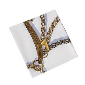 Image 4 - Nieuwe Riem Ketting 130Cm Vierkante Sjaal Luxe Merk Sjaals Voor Dames Twill Zijden Sjaal Vrouw Hoofddoek Sjaal Echarpe Tuaban