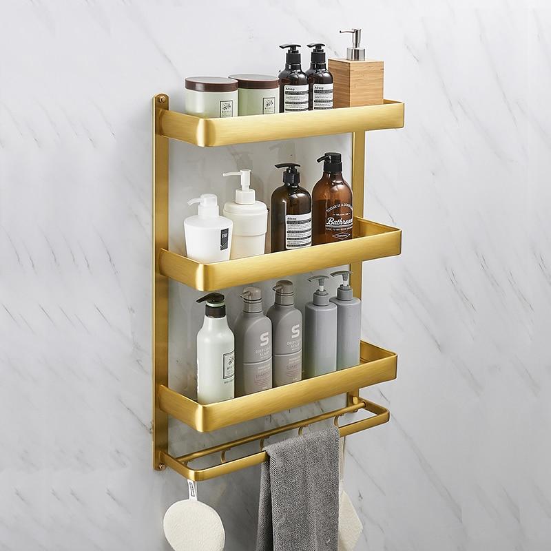 Gold Towel Rack With Hook Floating Shelf Shower Caddy Rack Set Wall Mount Bathroom Storage Rack 40/50/60cm Sapce Aluminum