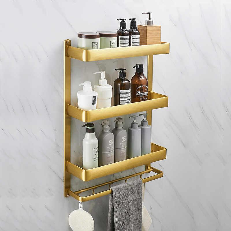 gold towel rack with hook floating shelf shower caddy rack set wall mount bathroom storage rack 40 50 60cm sapce aluminum