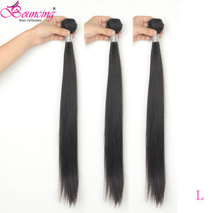 Bouncing Hair-Extension Human-Hair Straight-Bundles Double-Machine 10-40inch Brazilian Remy