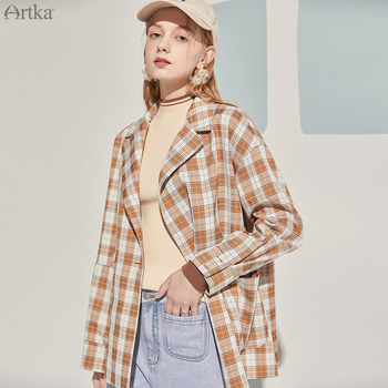 ARTKA 2020 Autumn New Women Blazers Fashion Vintage Plaid Blazer Jacket Coat Loose Casual Thin Shirt Outwear W120003Q юбка artka qb17249d