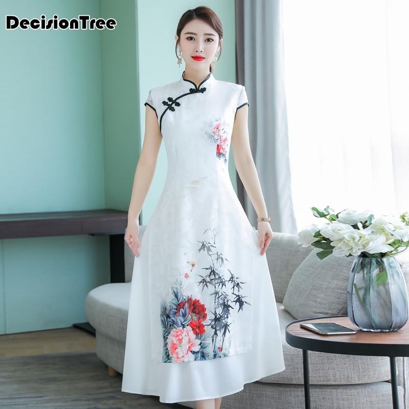2019 Elegant Vietnam Ao Dai Traditional Dress Qipao Long Cheongsam Dresses Cotton Linen Robe Chinoise Aodai Pieces