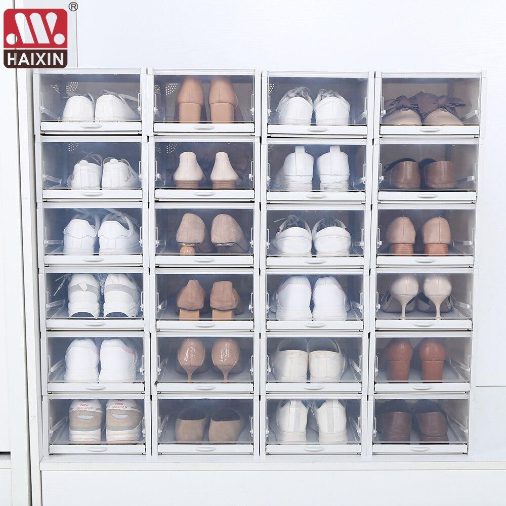 20Pcs Plastic Shoes Case Thickened Transparent Drawer Case Plastic Shoe  Boxes Stackable Box Accessories Shoe Organizer Shoebox