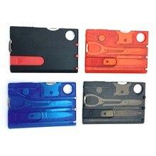 10 en 1 poche carte de crédit Multi outils en plein air survie Camping équipement Portable randonnée équipement carte outils engrenages porte-clés