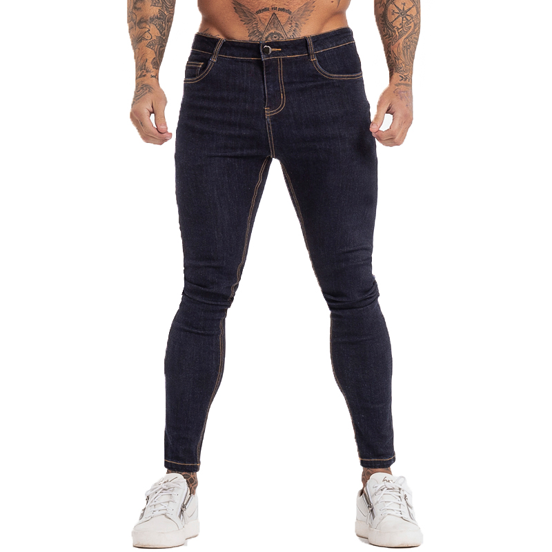 GINGTTO Men's Skinny Jeans Blue High Waist Classic Hip Hop Stretch Men Pants Cotton Comfortable Soft Full Length Zm124