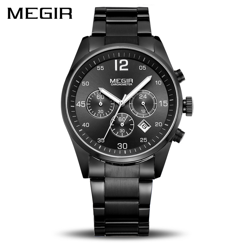 <font><b>Megir</b></font> Full Stainless Steel Business Watch Men Top Brand Luxury Chronograph 6 Hand Hour Quartz Watches Casual Quartz-watch Montre image