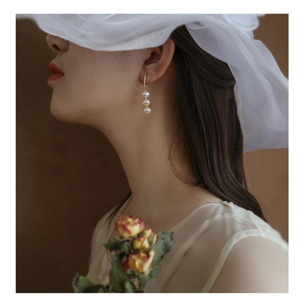 Novo 2019 Coreano Colorido S925 Pino Prata Enrolamento Espiral Pérola Strass Brincos Longa Queda para As Mulheres do Metal do Ouro Partido Das Meninas