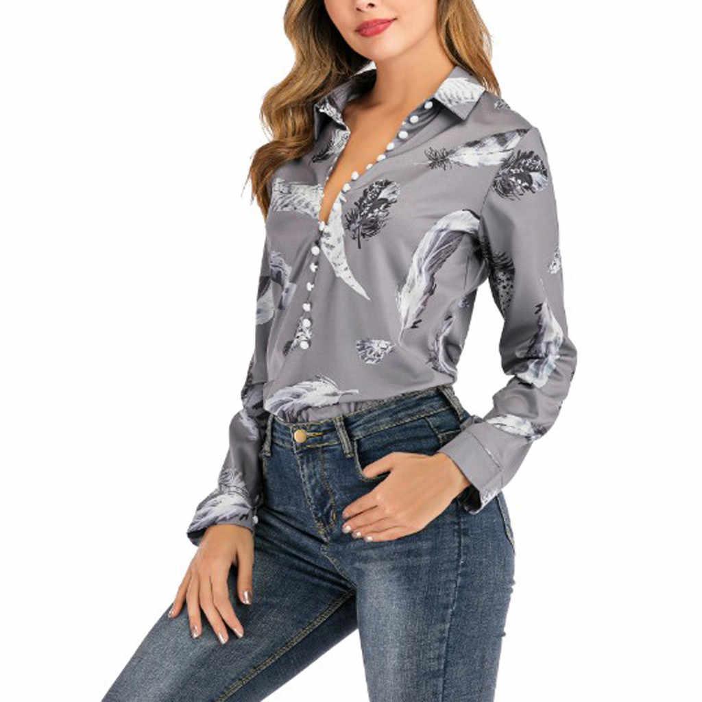 الخريف والشتاء جديد الخامس الرقبة مثير ريشة طباعة قميص طويل الأكمام المرأة قميص بلوزات و بلوزات أنيقة المرأة بلوزة
