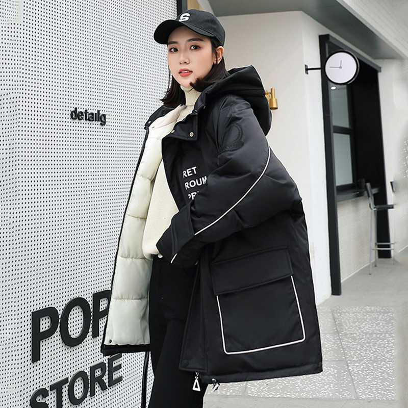 Korean Style Women Long Jackets Winter Thick Parka Stand Collar Hooded Letter Printed Female Coats Warm Causal Outwear Mujer