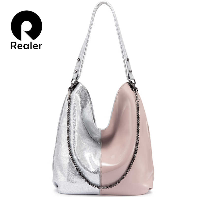 Сумка REALER женская, из натуральной кожи, сумка-хобо, 2019