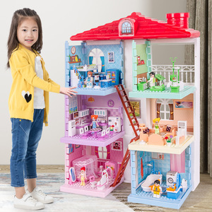 Princess Villa Plastic DIY Dollhouses Play House Furniture Kit With Led Light Assembled Doll House Toys for Girls Children Gifts