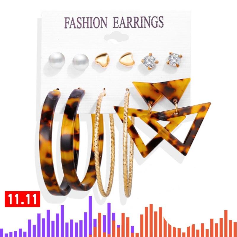 17KM Tassel Acrylic Earrings For Women Bohemian Earrings Set Big Geometric Drop Earring 2019 Brincos Female