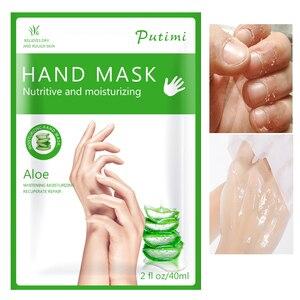 3packs=6pcs Aloe Essence Exfoliating Hand Mask Glove Moisturizing Whitening Spa Gloves Hand Scrub Anti-Wrinkle Aging Hand Cream