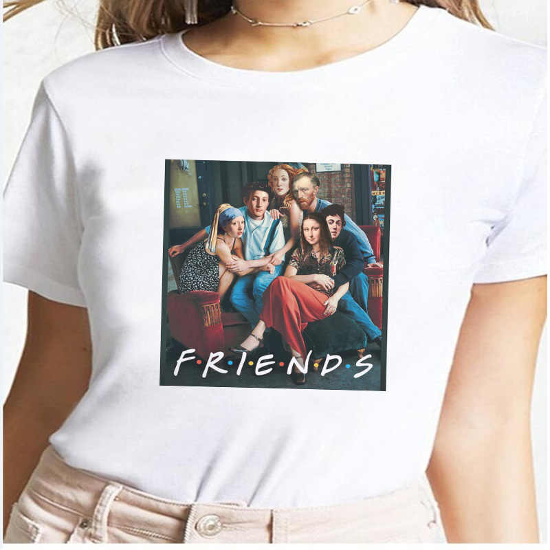 Friend Van Gogh Mona Lisa T Shirt Women Art 90s Funny Grunge Tshirt Harajuku Female Ulzzang Cat Tops Tee Clothes Hip Hop T-shirt