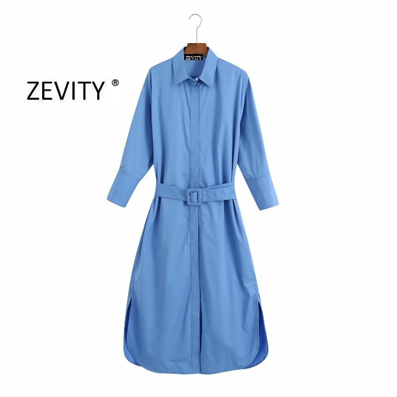 Zevity women fashion solid buckles sashes shirt dress chic office ladies three quarter breasted casual slim split dresses DS4155