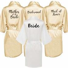 Champagne or robe mariée satin kimono robe femmes mariage soeur de la mariée impression demoiselle dhonneur robes de soirée de mariée