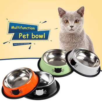 Pet Dog Bowl Durable Stainless Steel Paint Feeding Dishes Non-Slip   1