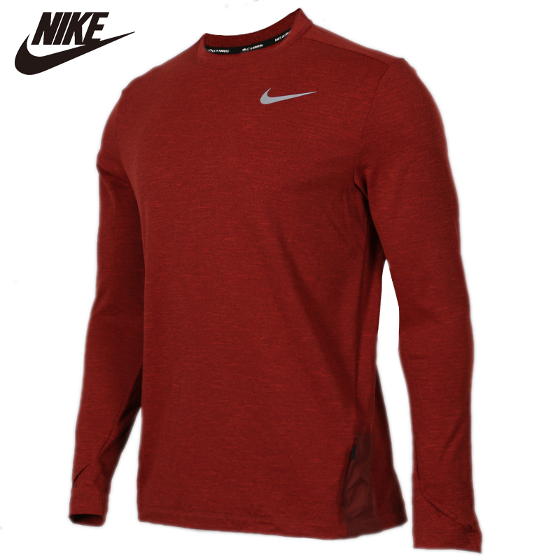 Original <font><b>NIKE</b></font> Red AS M NK SPHR ELMNT TOP CRW LS 100% cotton Soft <font><b>Tshirts</b></font> Comfortabe Clothing Limited Sale image