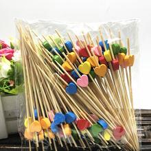 100 sztuk paczka jednorazowe akcesoria podróżne na przyjęcie deser Stick babeczki owoce widelec przenośne czyszczenie zębów narzędzia Bamboo tanie tanio HAIMAITONG CN (pochodzenie) Drewna